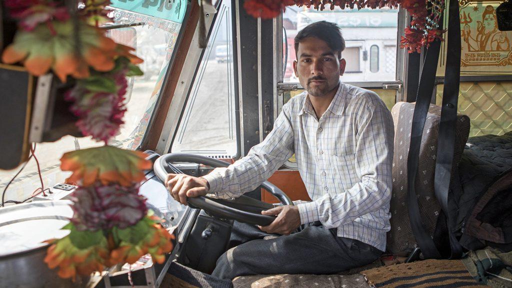Sandeep inside his truck.