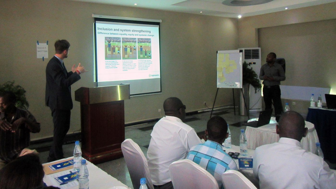 An inclusive eye health planning meeting hosted by Sightsavers in Mozambique.