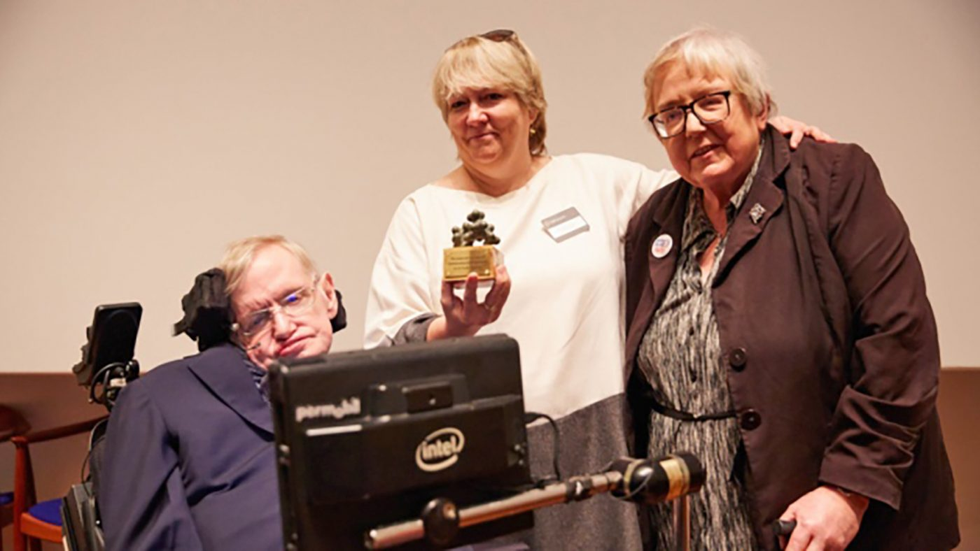 Professor Hawking with Sightsavers CEO Caronline Harper and his sister Mary.
