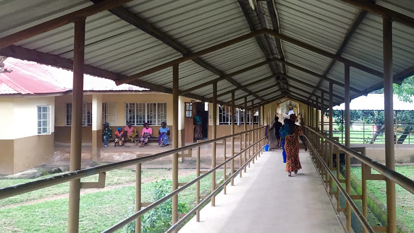 An undercover, open-air walkway at Makeni Hospital.
