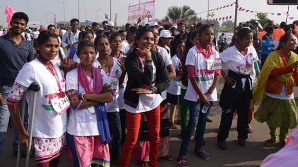 Women line up on the start line of the Raipur running event.