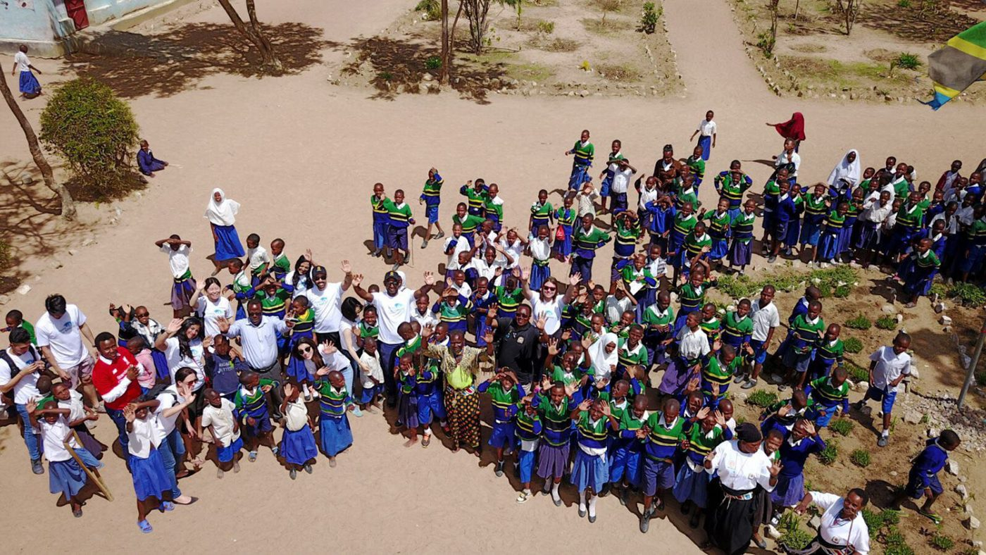 An aerial shot of children from the school.