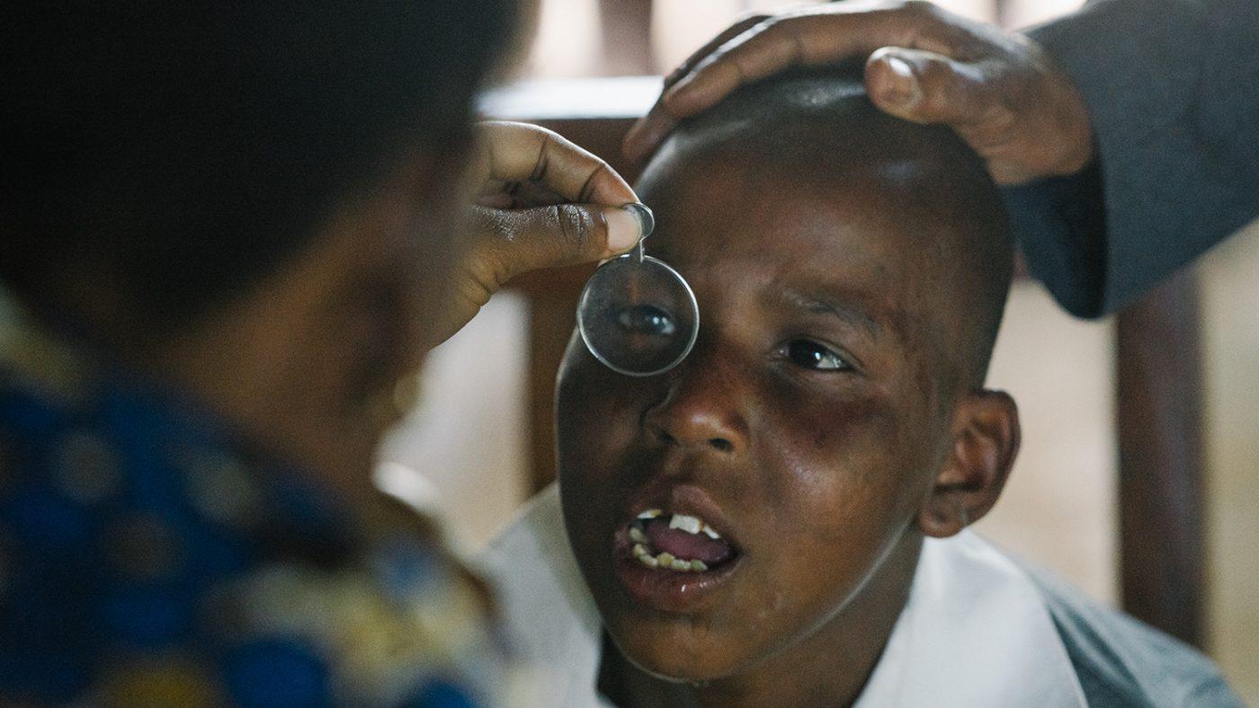 9-year-old Evalina having her eyes tested.