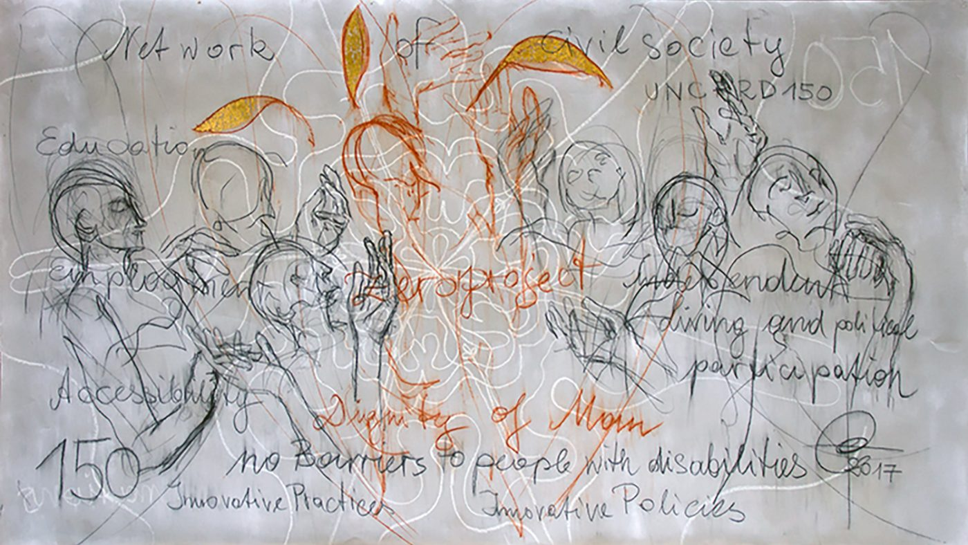 An artwork featuring sketched images of people, with the words 'Civil society', 'accessibility', 'No barriers' and 'dignity', among others.