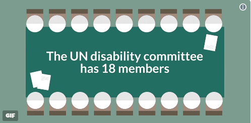 Screengrab of a gif showing 18 seats at a table. Text reads: 'The UN disability committee has 18 members.