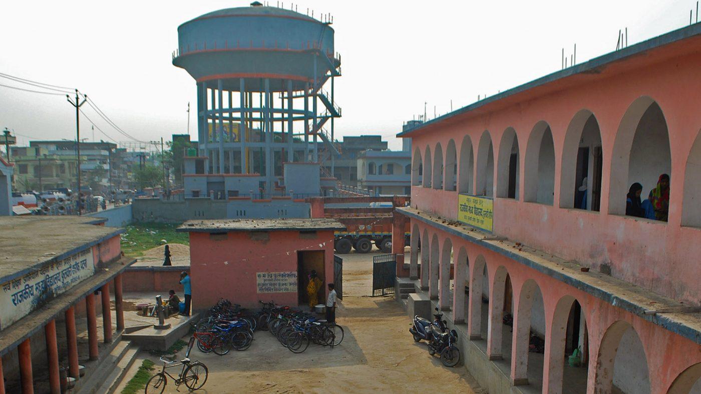 Outside Shahid's school.