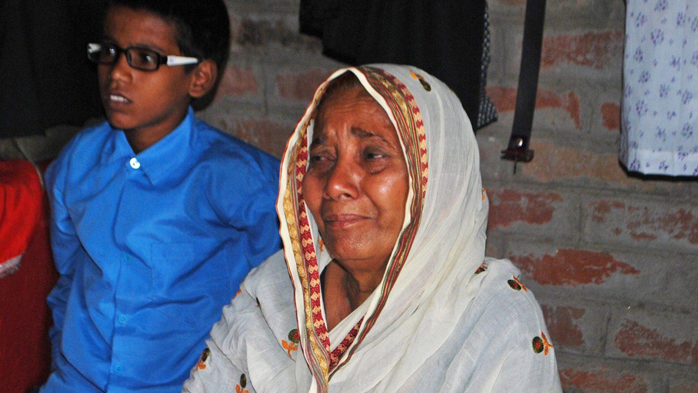 Shahid's tearful grandmother.