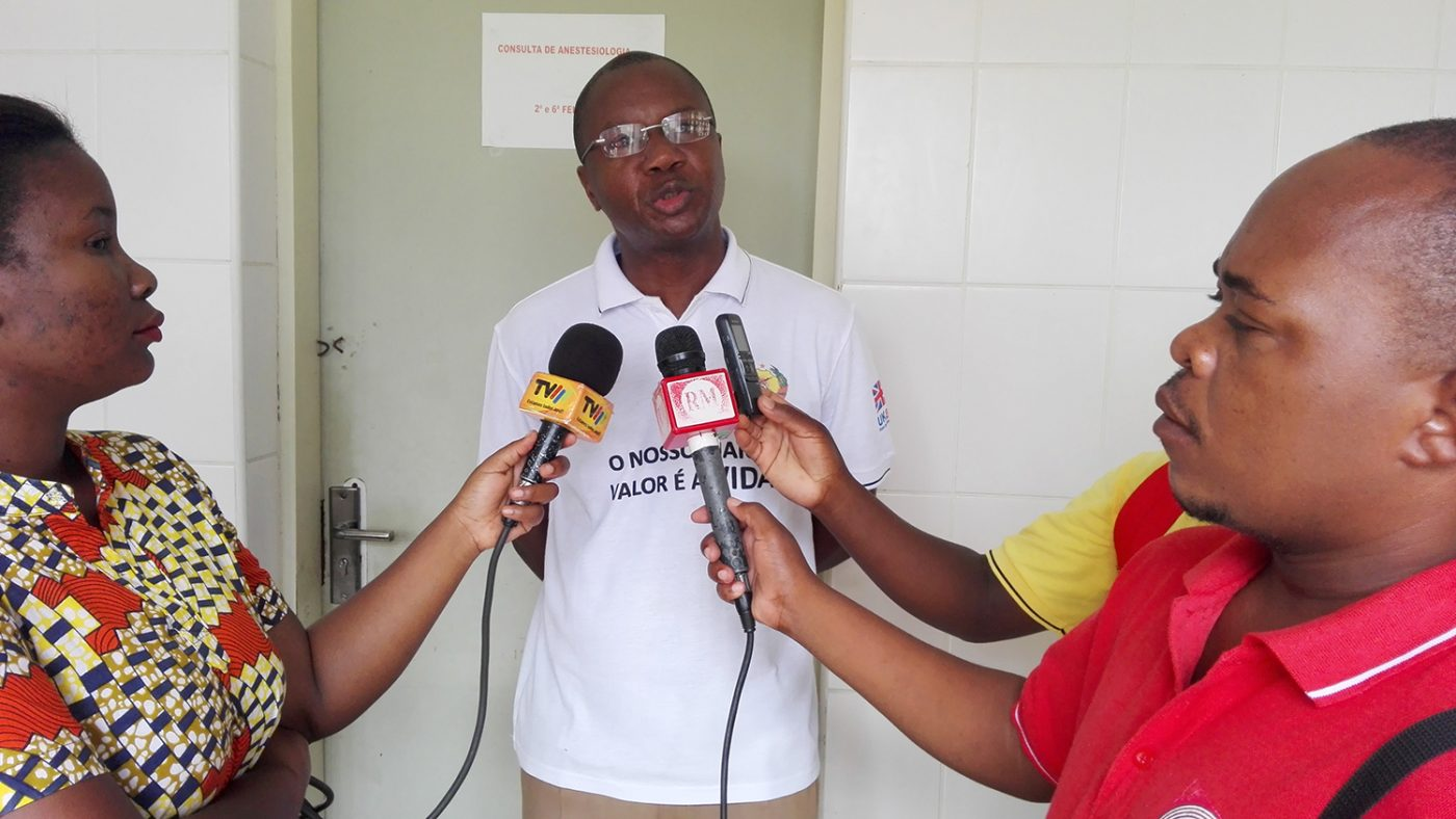 Health worker Dr Anselmo is interviewed for the TV advert.