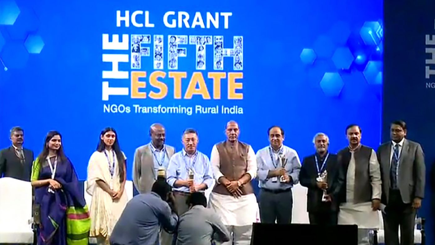 The Sightsavers team on stage at the HCL ceremony.