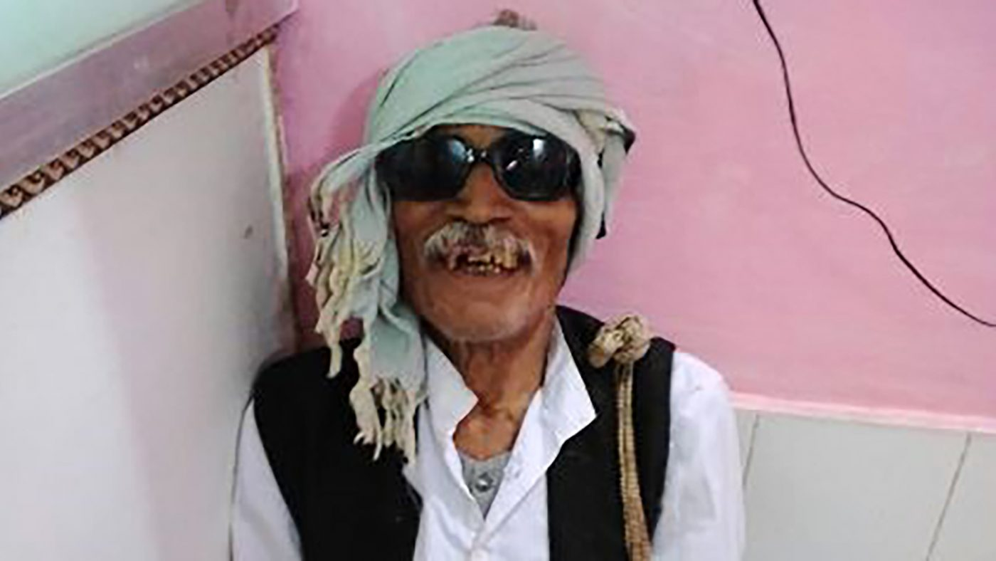 Khemchand smiles following his cataract operation, which has enabled him to return to work as a farmer.