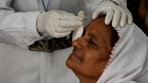 Zamurrad having her patch removed after cataract surgery.