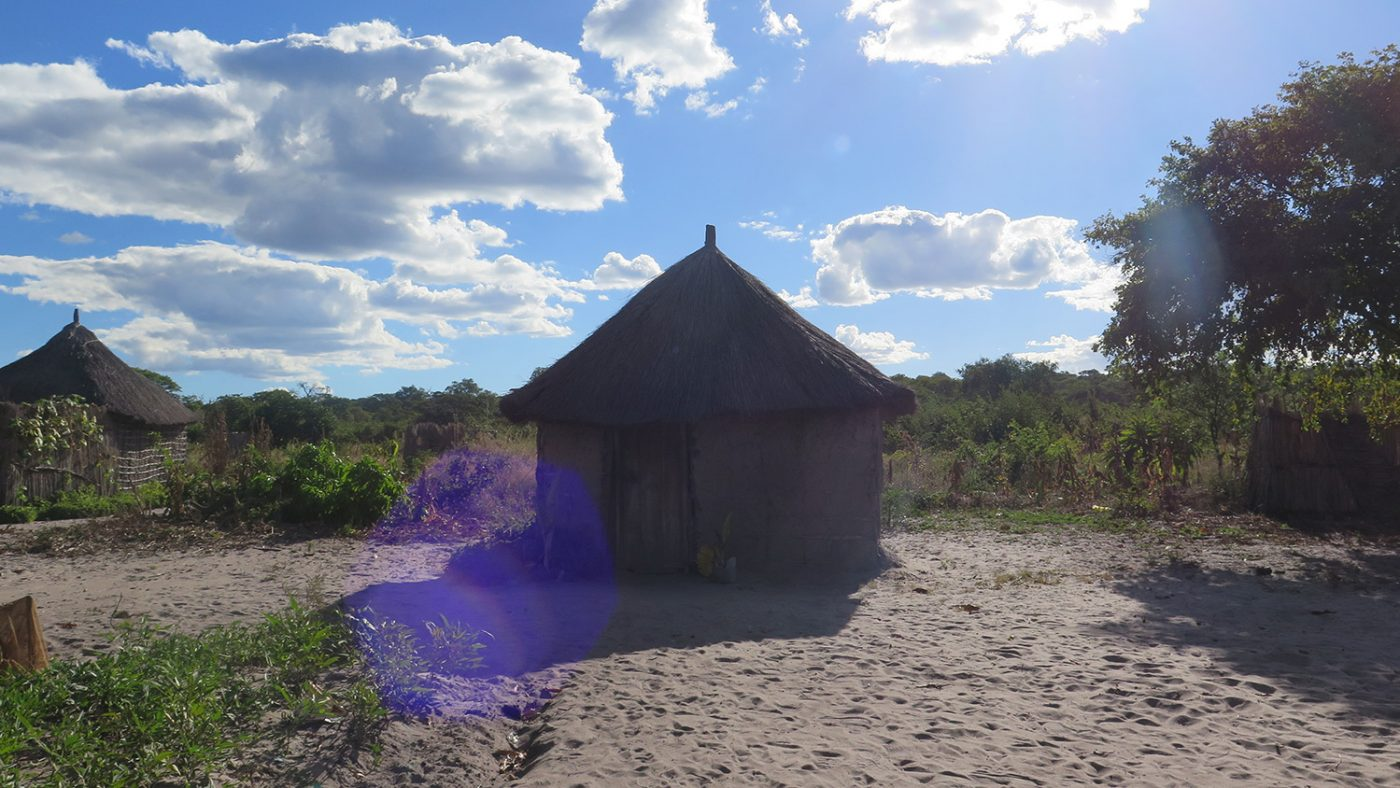 The dusty ground around a hut in Zambia.