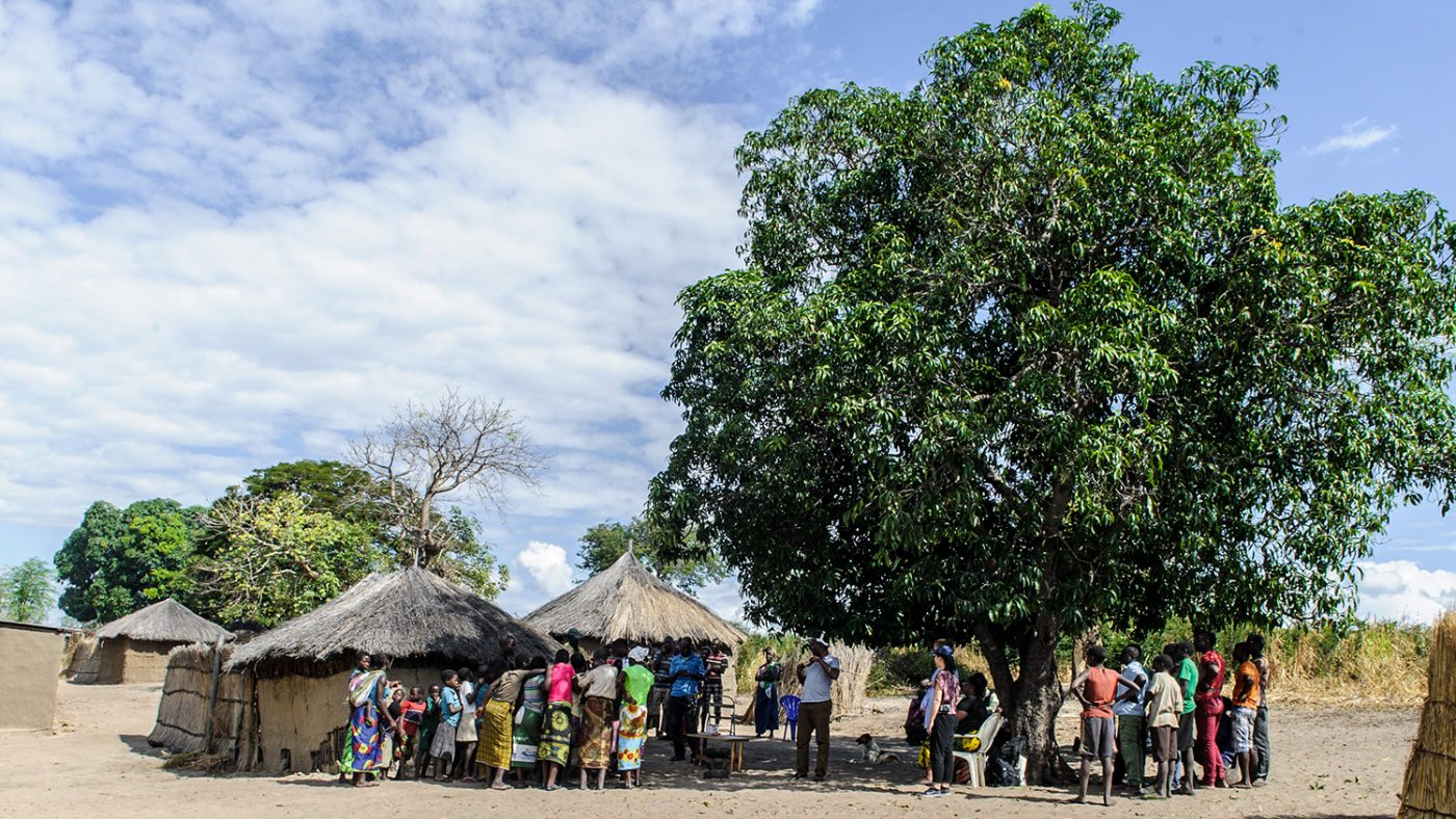 People in a village in West Zambia gather under a tree.
