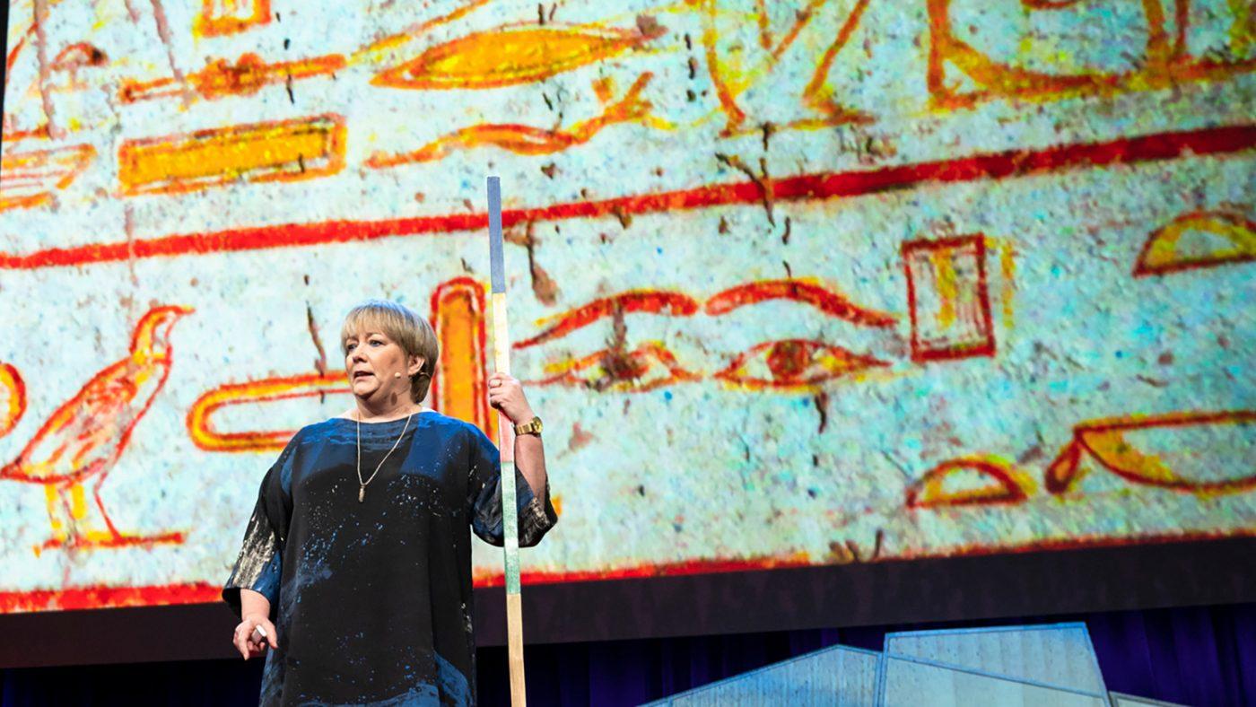 Caroline Harper speaks at TED 2018.