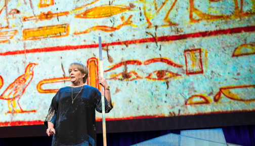 Caroline Harper speaks at TED 2018.