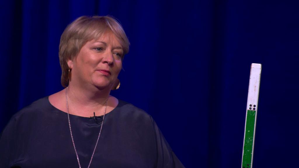 A screenshot of Caroline Harper giving a talk about trachoma elimination.