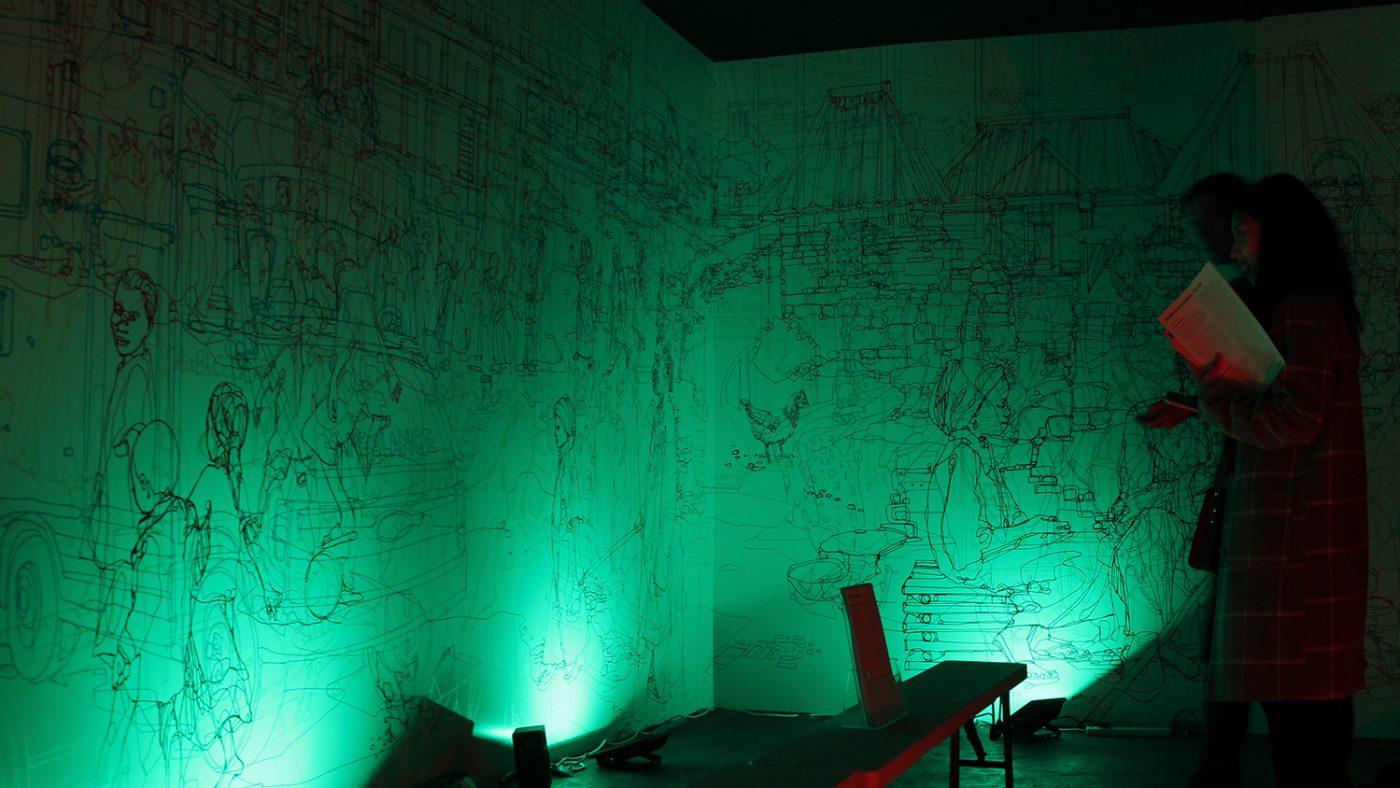 The colour room bathed in green light.