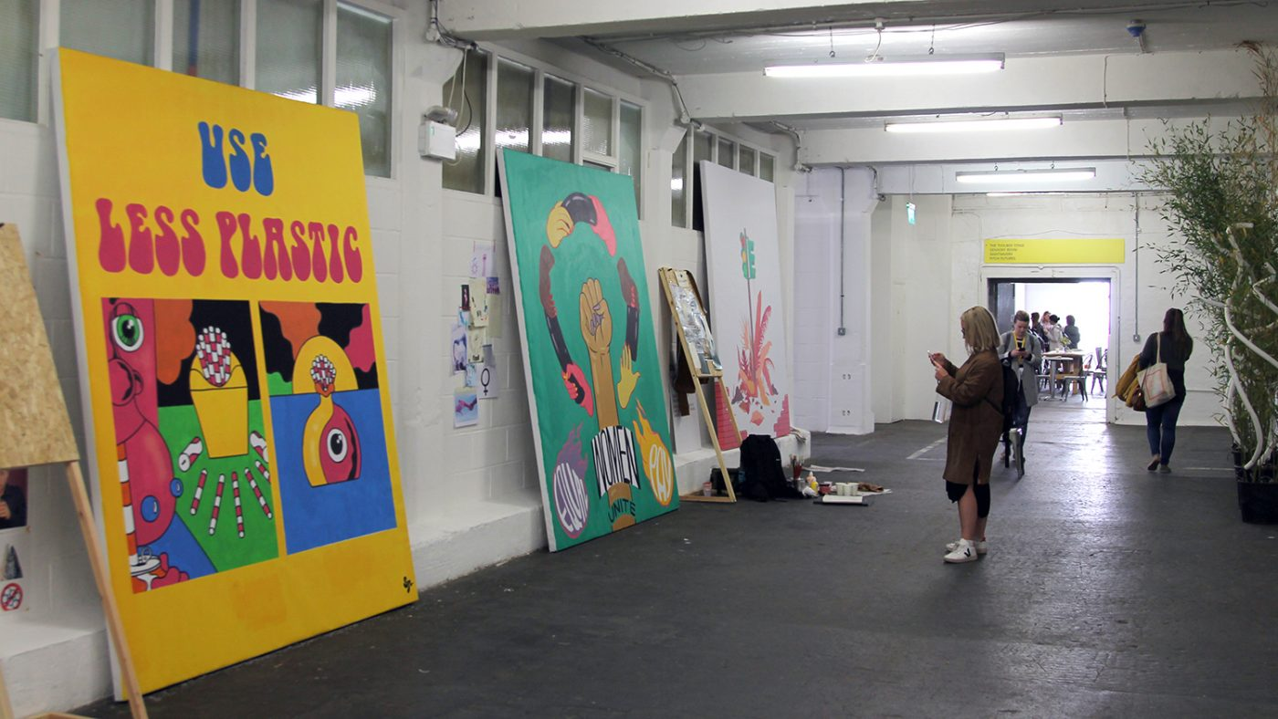 Murals on show at D&AD.