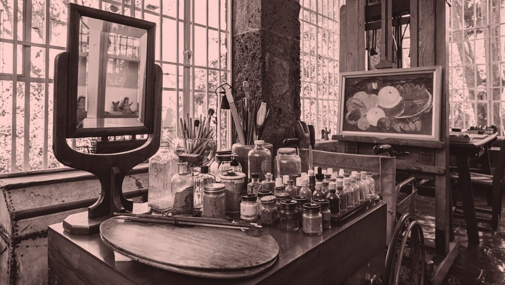 Frida Kahlo's studio, showing her painting tools and the mirror she used to paint self-portraits.