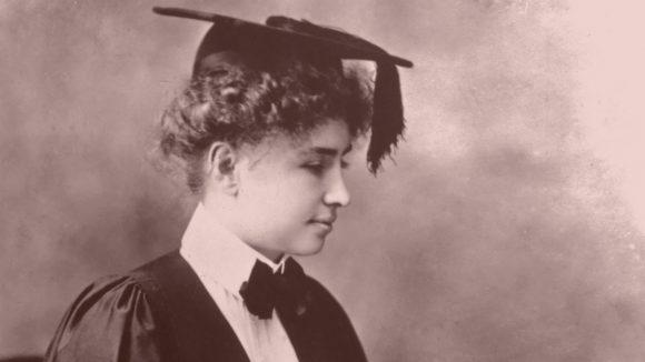 Helen Keller in her graduation gown.