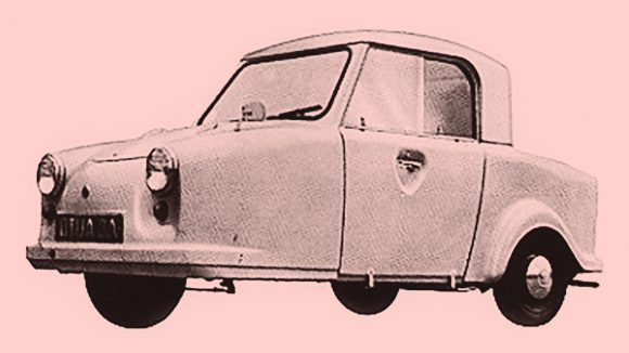 An Invacar three-wheeled car for people with disabilities.