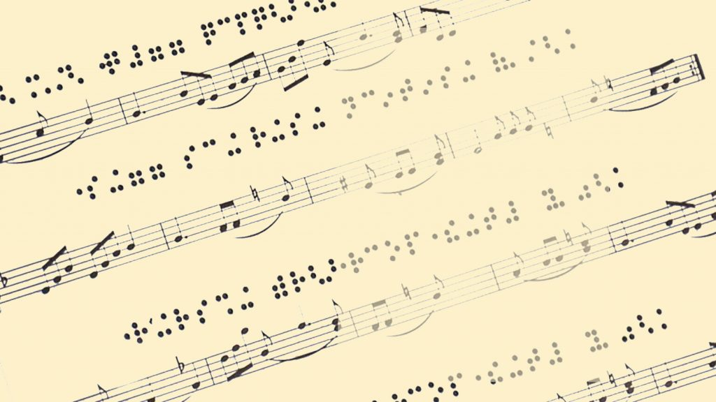 A sheet of music with Braille notation above it.