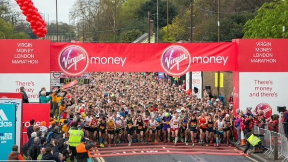 Runners line up on the start line of the London Marathon.