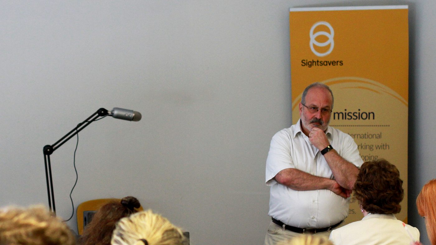 Graeme Whippy speaking to Sightsavers staff.