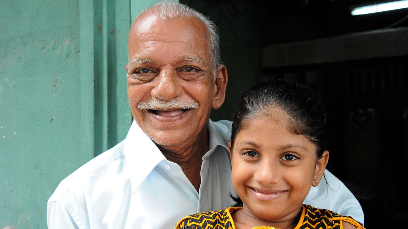 Mohammed Sakkof with his granddaughter.