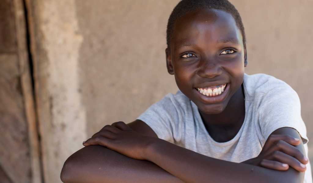 Smiling girl from Uganda