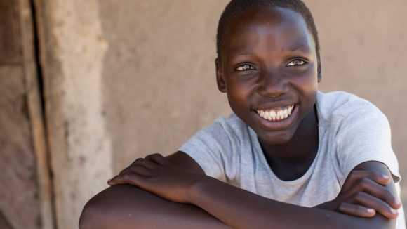 Smiling girl from Uganda