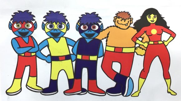 The five cartoon superheroes from the campaign.