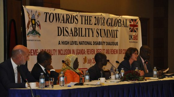 A panel discussion at the National Disability Dialogue hosted by the Ugandan government.