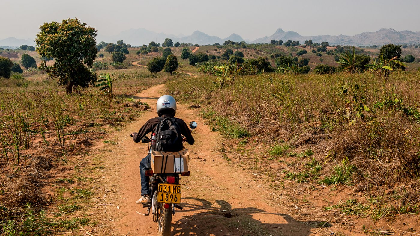 Madalitso Nyangulu riding on a motorcycle.