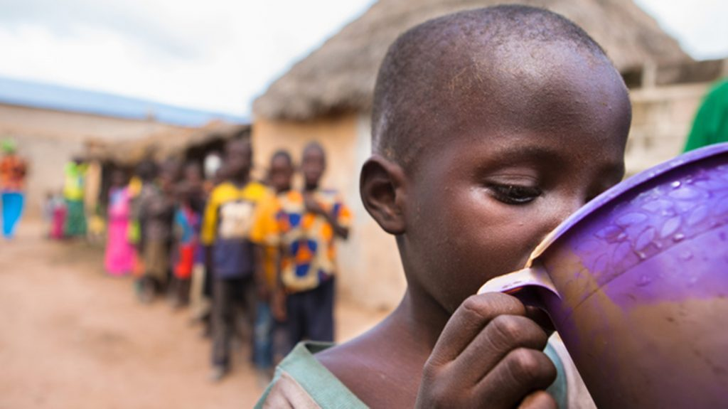 A small child receives his annual dose of Zithromax to protect him from trachoma/