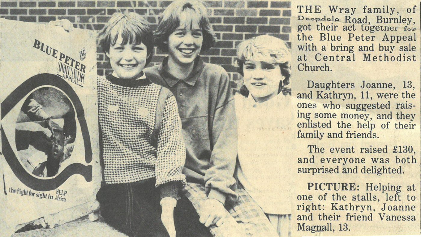 A newspaper clipping from 1986, which begins with the text: 'The Wray family, from Deepdale Road, Burnley, got their act together for the Blue Peter Appeal with a bring and buy sale at Central Methodist Church.'