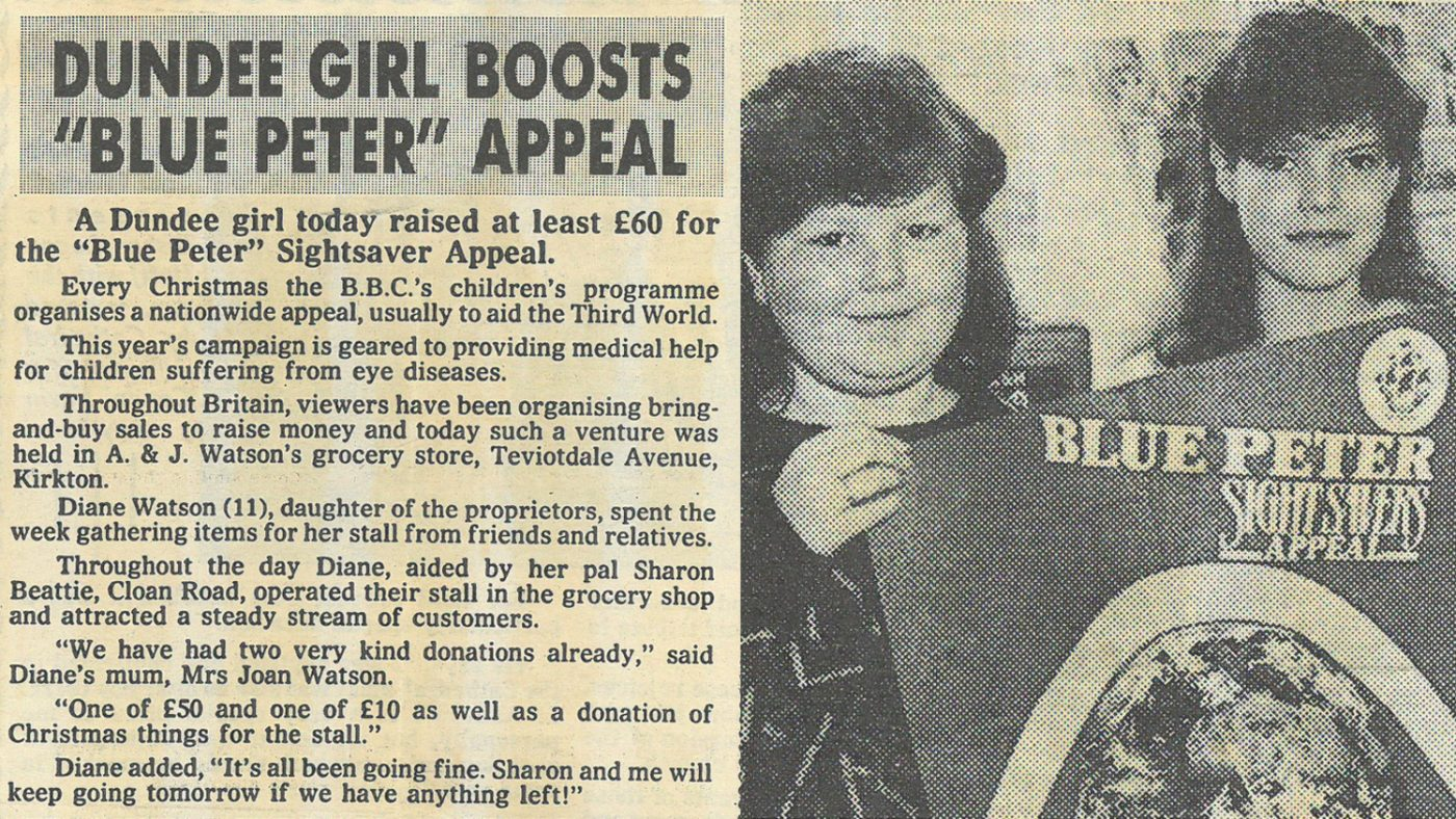 Newspaper clipping from 1986, which starts with the text: 'A Dundee girl today raised at least £60 for the Blue Peter Sightsaver Appeal.'