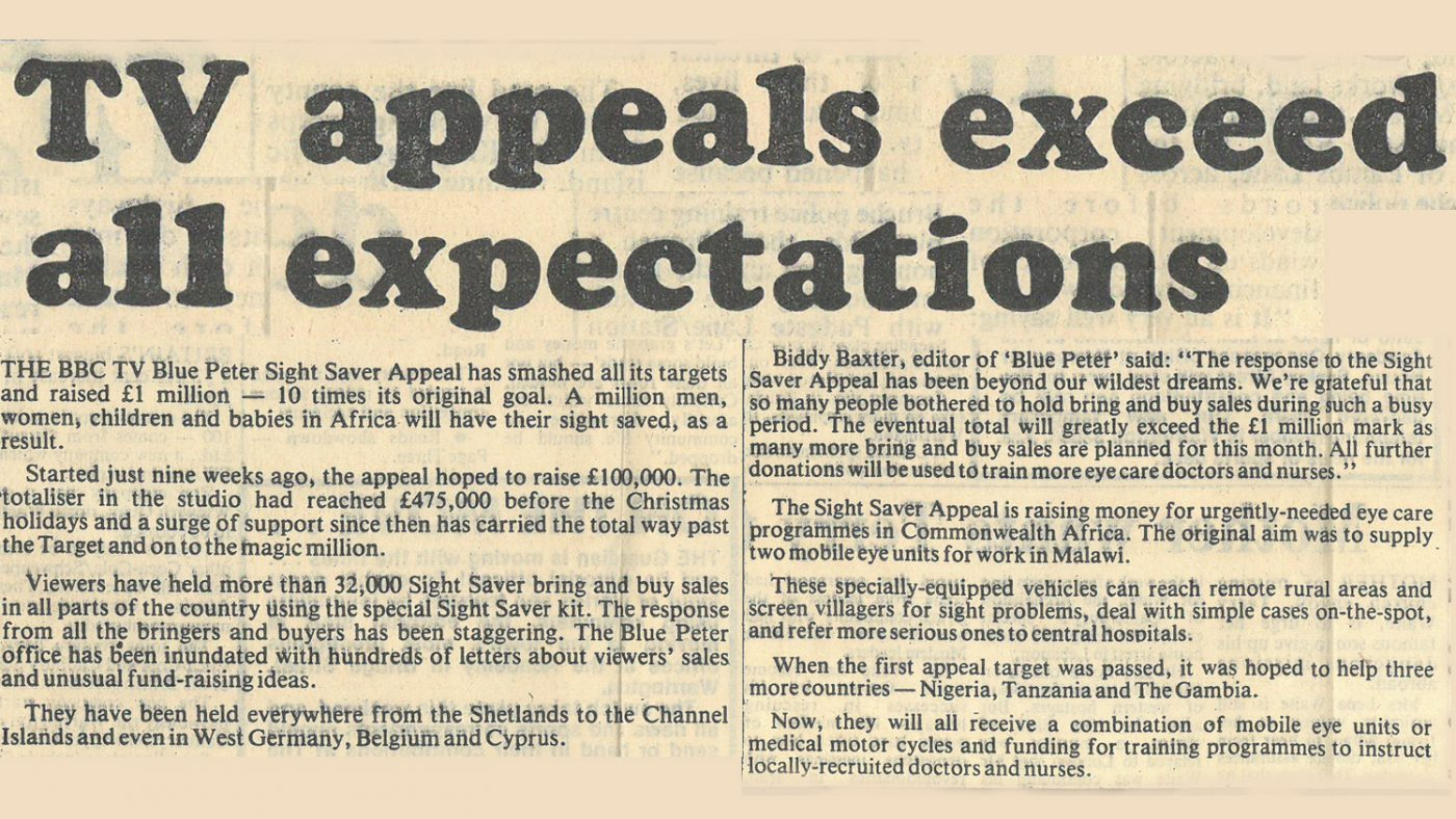 Newspaper clipping from 1986 with the text: 'TV appeals exceed all expectations: The BBC TV Blue Peter Sight Saver appeal has smashed all its targets and raised £1 million - 10 times its original goal.'