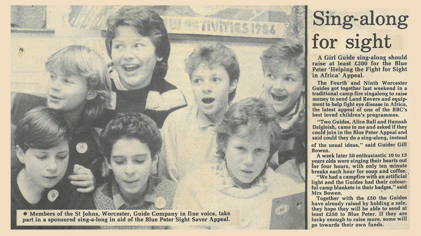 Newspaper clipping from 1986 with the text: 'Sing-along for sight: A Girl Guide sing-along should raise at least £200 for the Blue Peter Appeal.'