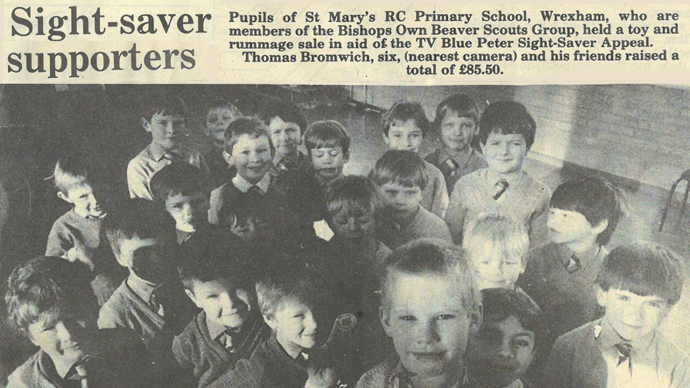 News clipping from 1986 that starts with the text: 'Sight saver supporters: pupils of St Mary's RC Primary School, Wrexham, held a toy and rummage sale in aid of the TV Blue Peter Sight-Saver Appeal.