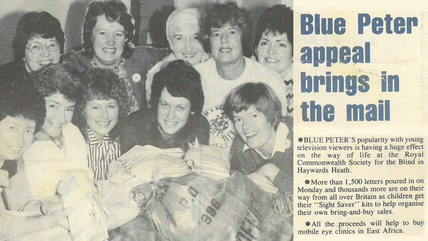 Newspaper clipping from 1986, starting with the text: 'Blue Peter's popularity with young TV viewers is having a huge effect on the way of life at the Royal Commonwealth Society for the Blind in Haywards Heath.'
