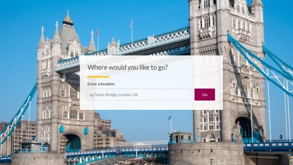 Tower bridge, with an example of a search box over the image.
