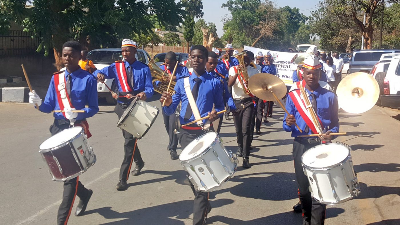 A marching band performs in Zambia.