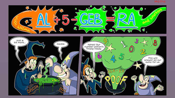 A comic book page with the words 'Al-ge-bra' at the top.
