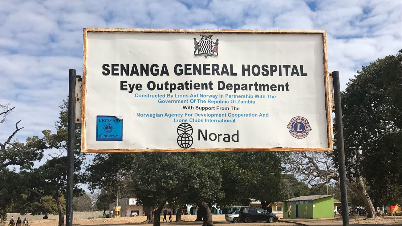 The Senanga General Hospital sign.
