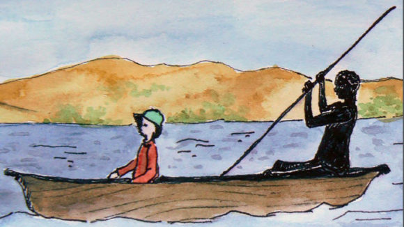 An illustration of a man and boy with albinism in a canoe.