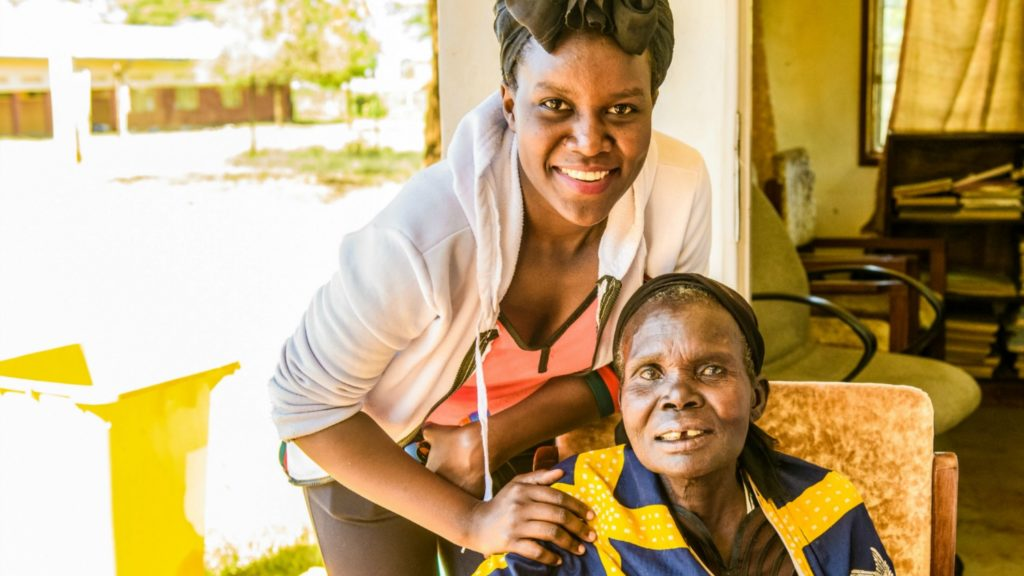 Gladys with Loumo Mariam, one of her cataract patients.