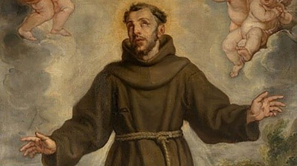A historical painting of St Francis of Assisi, wearing a brown robe and holding his arms outstretched.