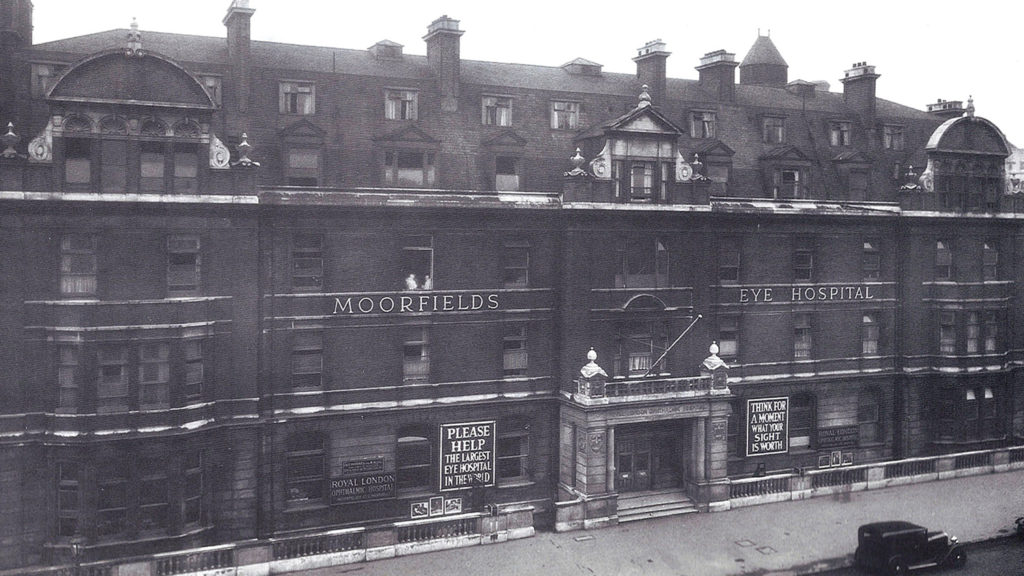 A black-and-white photo showing the original Moorfields Eye Hospital building.