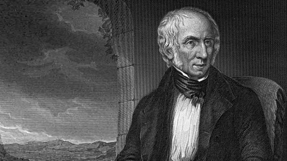 A black-and-white painting of poet William Wordsworth.